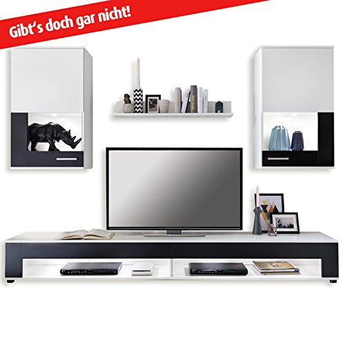 ROLLER Wohnwand SQUARE - weiß-schwarz - 5-teilig