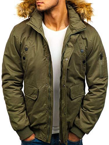 BOLF Herren Jacke Parka Winterjacke mit Kapuze Reißverschluss Knopfleiste täglicher Stil Extreme 1778 Grün XL [4D4] |