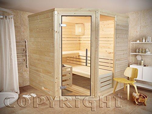 Sauna 220 x 220 Eckeinstieg AKTION Massivholz 45 mm EOS Saunaofen D2 Steuergerät
