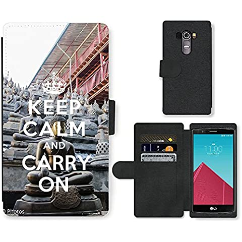 PU Cuir Flip Etui Portefeuille Coque Case Cover véritable Leather Housse Couvrir Couverture Fermeture Magnetique Silicone Support Carte Slots Protection Shell // Q01018302 keep calm and carry on 910 // LG G4