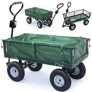 Chariot de jardin, chariot de transport en métal à 4 roues avec direction et pliage des pneus latéraux et tout-terrain, capacité de charge 300 kg