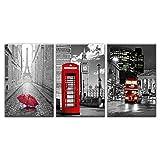 FYBSNDY Moderne Wandkunst Leinwand Bild 3 Stücke Paris Schwarz Weiß Eiffelturm Rot Auto Regenschirm Malerei Poster Dekoration 35 cm X 50 cm Kein Rahmen