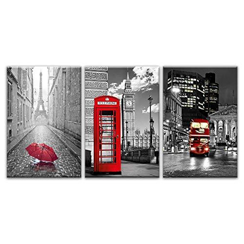 París, negro, blanco, torre Eiffel, rojo, sombrillas