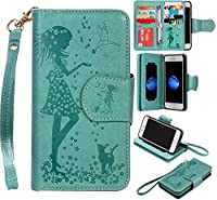 iPhone 7 Case, KKEIKOŽ iPhone 7 Wallet Case [with Free Tempered Glass Screen Protector], PU Leather Flip Cover with Card Slots, Hand Strap and Stand, Wallet Book Style Holster Case with Shock-Absorption Cover for Apple iPhone 7 (Green)