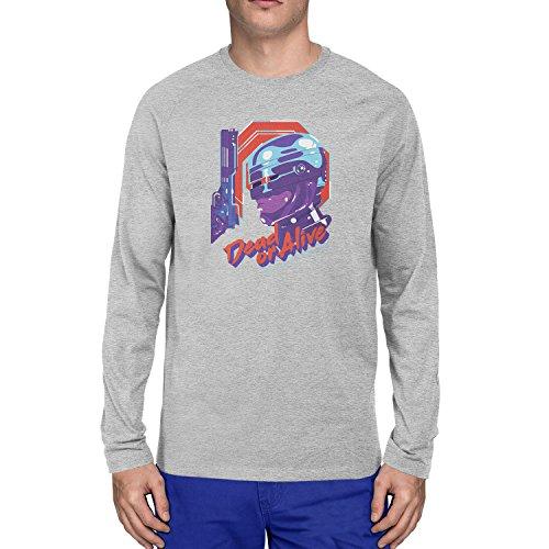 Planet Nerd - Dead or Alive - Herren Langarm T-Shirt Grau Meliert