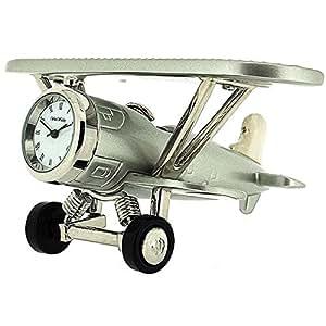 Nouveauté! Horloge Miniature de Bureau de Collection en Forme d'Avion Biplan Argenté