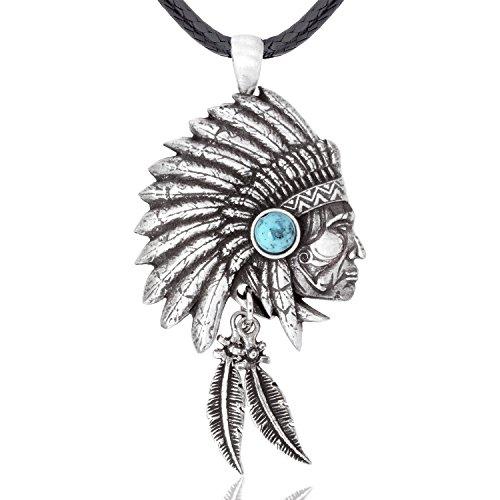 cher Häuptling Anhänger Halskette von Amerikas Ureinwohnern Indianern inspiriert, feinster Zinn Metall Modeschmuck (Indisch Inspiriert Modeschmuck)