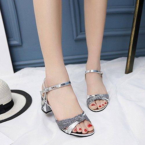 Estate donna scarpe di cuoio estate sandalo bocca pesce,39 nudo Silver