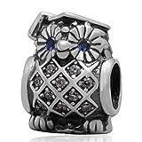 Graduate gufo con occhi blu zircone Argento Sterling 925Saggio Gufo Animale Charm per braccialetti Pandora Brand