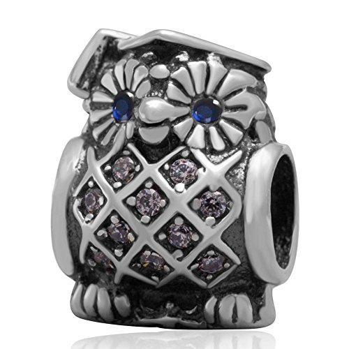 soulbead Graduate Eule Charm 925Sterling Silber Bead mit Blau Zirkon Augen für europäischen Marke Armband kompatibel