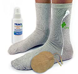 Premium Conductive Socks Package for Pain Treatment & Diabetes, Tarsal Tunnel, Arthritis, Neuropathy Electrotherapy (1 PAIR - Silver Thread - Universal One Size Fits All)