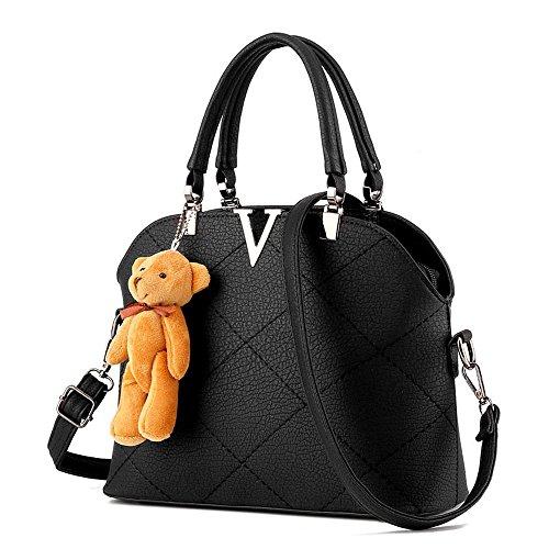 koson-man Damen Grosse Bär Dekorieren Vintage Tote PU Leder Taschen Top Griff Handtasche, schwarz (Schwarz) - KMUKHB121
