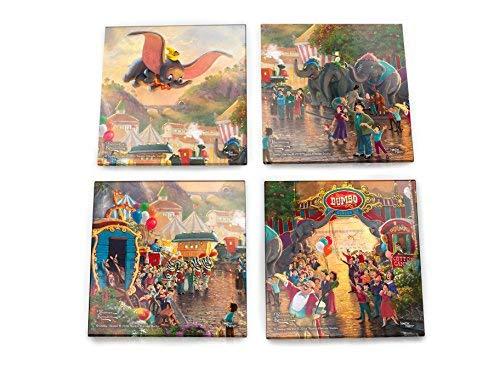 Disney Dumbo Glasuntersetzer-Set - Thomas Kinkade - mit stilvollem Holzhalter -