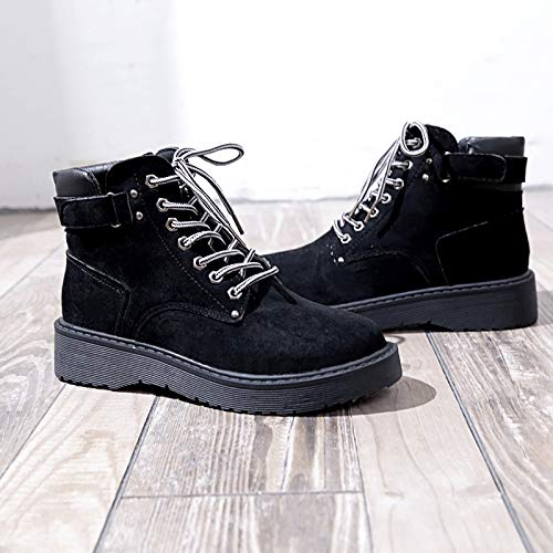 DAMENGXIANG Women s Martin Boots Autumn and Winter Students Wild Flat Shoes  Retro British Wind Casual Bare ac0270f402d