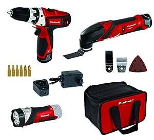Einhell Akku Werkzeug Set RT-TK 12 Li Bohrschrauber (12 V, 2x Lithium Ionen Akku, Ladegerät, 6 Bits, Multifunktionswerkzeug mit Schleif- und Sägeblätter und Schaber, LED Lampe, Tragetasche)