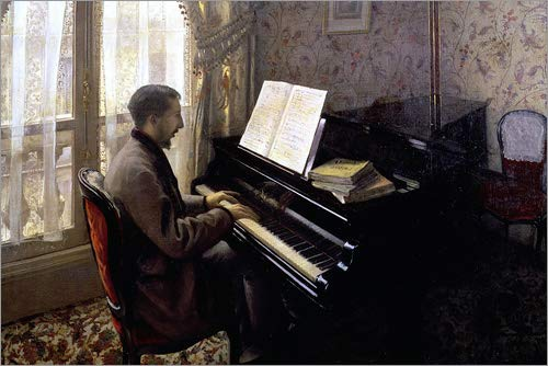 POSTERLOUNGE Forex 120 x 80 cm: Young Man at The Piano de Gustave Caillebotte/Bridgeman Images