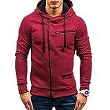 KPILP Herren Mode Übergröße Herbst Beiläufig Solide Langarm-Shirt Kapuzenpullover Sweatshirt Oberbekleidung Sportbekleidung(Rot, M
