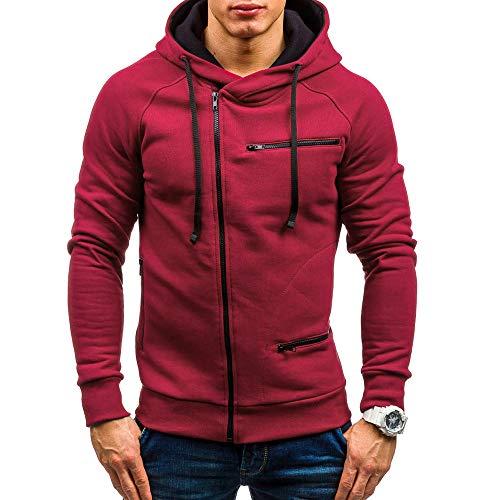 MRULIC Herren New Slim Fit Halfzip Jacke Kapuze Hoodie Sweatshirt Kapuzenpullover RH-004(Rot,EU-44/CN-M)