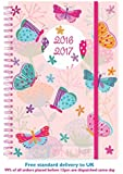 2016 2017 A5 Page A Day Spiral Bound Academic Student Fashion Diary - Pink Butterfly's