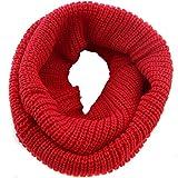 Bufanda Unisex para Invierno, TININNA Cálida Bufanda de Abrigo de Cuello de Punto para Mujer y Hombre-Rojo