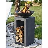 Design-Feuerschale mit Holzablage - 4