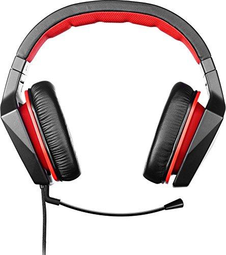 Lenovo Y Gaming Surround Sound Headset (7.1 Surround-Sound, 400 mm Neodym-Treiber, abnehmbares Mikrofon, Kontrolleinheit mit Lautstärkeregelung und Stummschaltung, Y Gaming Style) schwarz/rot