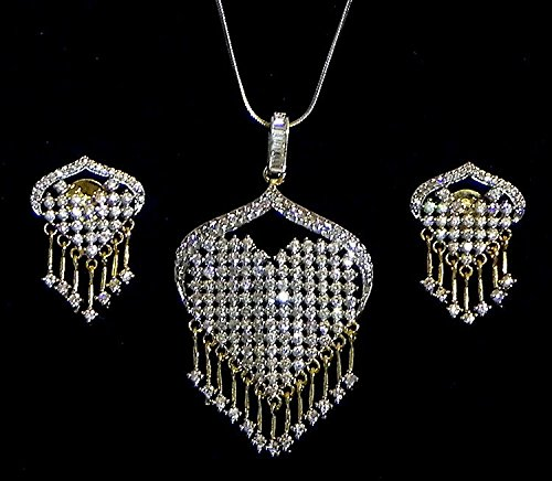 DollsofIndia White Stone Studded Pendant With Chain And Earrings - Stone And Metal (GE55-mod) - White