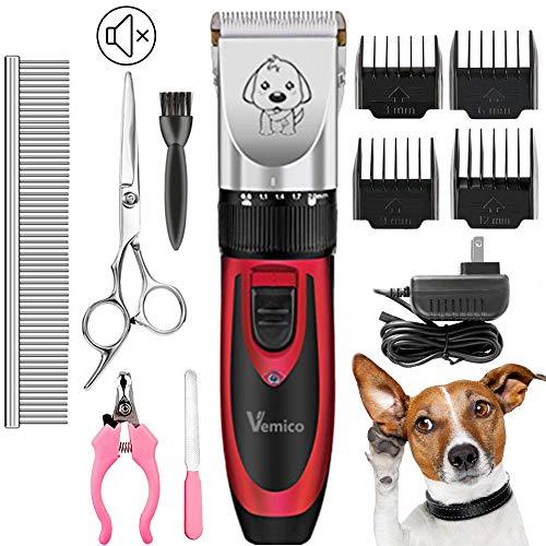 Hundeschermaschine Vemico Rasierer Haarschneidemaschinen Geräuscharm Hunde Schermaschine Elektrisch Tierhaarschneider kit Grooming Clipper Kits