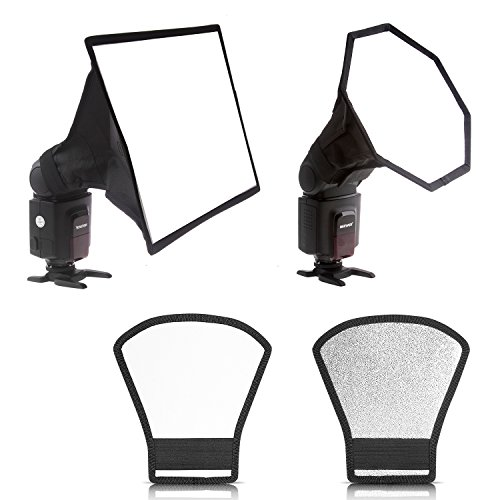 "Neewer 8 ""x 12""/20 x 30cm Quadrat Softbox, 8 ""x 8""/20x20cm Octagon Softbox und Zwei Seiten Silber/Weiß Reflektor für Canon 430EX II, 580EX II, 600EX-RT, Nikon SB600 SB800 SB900, Neewer TT520, TT560"