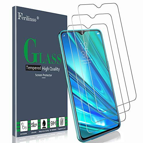 Ferilinso Verre Trempé pour Realme 5 Pro/Realme Q Protection écran, [3 Pièces] Protection écran Glass Screen Protector Vitre Tempered