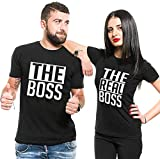 Couple Partner T-Shirt The Boss und The Real Boss King Queen für 2 (Schwarz, Men-M+Women-M)