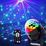 Mini luces de etapa, EJBOTH Mini bola lámpara mágica RGB LED lámpara de etapa rotación de bola de cristal Disco Club DJ luz activado por voz + Control Remoto Luces Ambiente para Disco KTV Bar Club.