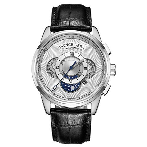 Prince Gear Einzigartige Silber Herren Automatik Uhren Wasserdicht Schwarz Leder Mechanische Uhr with Sonne und Mondan Tag Datum Monat Zeige