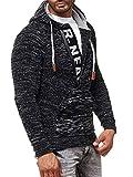 Rusty Neal Herren Strick-Pullover Strickjacke mit Kapuze Gr. S bis 4XL RN-13277, Größe:3XL, Farbe:Schwarz/Grau