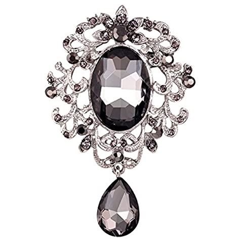 SODIAL(R) Large AB Rhinestone+glass vintage brooch pins flower for wedding pins and brooches for women Black