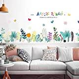 Timbre Mural Plinthes Colorées Fleurs Artistiques Autocollants Muraux Amovibles Salon Chambre À Coucher Fond...