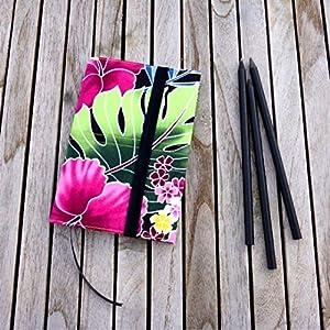 Notizbuch A6 Tagebuch Kalender Journal, Stoffhülle Orchidee pink grün schwarz, von wagnerstrasse