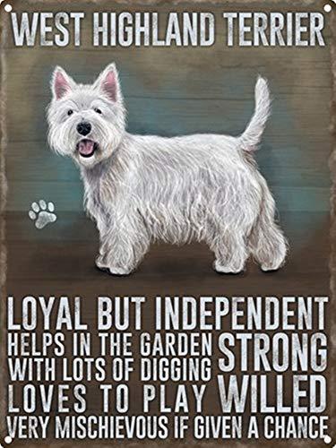Forry West Highland Terrier Retro Eisen Malerei Kreativität Personalisierte Metallkunst Wandschild Vintage Dekoration Blatt Handwerk Cafe Bar Garage Schlafzimmer Hängen Poster