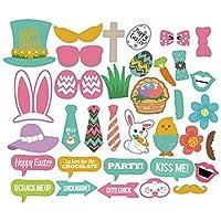 Caratteristiche:100% nuovo e di alta qualità.35pezzi unici e creative puntelli decorazione pasquale -- conigli, occhiali, cappello, moda bowknot, felice Pasqua, fiori e così via.Realizzati in cartoncino di spesso e duro, divertente e fresco ...