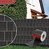Dazone 70mx19cm Sichtschutzstreifen Stabmattenzaun PVC Sichtschutzfolie inkl. 30 Befestigungsclips 650g/m² Rattan-Anthrazit