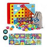 Fansteck Jeux de mosaïque Loisir créatif Puzzle en différents Motifs avec Les Boutton colorés jexu éducatif Cadeau idéal pour Les Enfant de 1 - 3 Ans