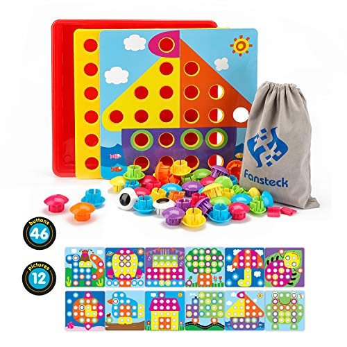Fansteck Mosaik Steckspiel für Kinder ab 2 Jahre, Steckmosaik mit 46 Steckperlen und 12 Bunten Steckplätte, Mosaiksteine mit Ø 3.5cm, Pädagogische Baustein Sets, Lernspielzeug Geschenke
