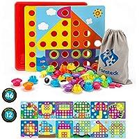 Fansteck Tablero de Mosaico Juguete para niños, Rompecabezas 3D de Uñas Setas, Tablero de Coincidir Colores con Botones, Puzzle Infantil, Juguete Educativo Temprano para niños de 3+ años.