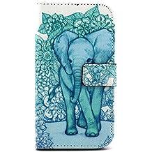 Funda de Piel para Motorola Moto G3,Cartera Cuero Funda de Piel Wallet Case para Motorola Moto G 3 (3ª Generación) 2015 Carcasa Flip Case Cover con Función Soporte-Elefante verde