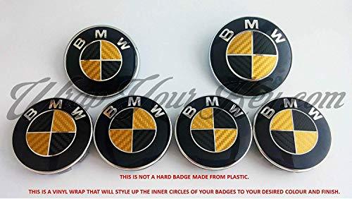 Adesivo per stemma BMW oro e nero in fibra di carbonio, per cofano, portellone posteriore e cerchioni, adatto a tutti i modelli BMW