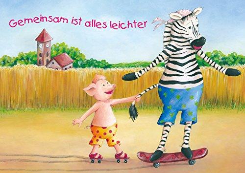 Lustige Kinder Geburtstags Einladungskarte für die Beste Freundin/Freund mit einem niedlichen Zebra auf Skateboard und Schweinchen auf Rollschuhen. Gemeinsam ist Alles Leichter (Mit Umschlag) (4)