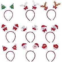 Lurrose 9pcs navidad juguetes diademas santa claus árbol de navidad cornamentas de renos osos guante diademas