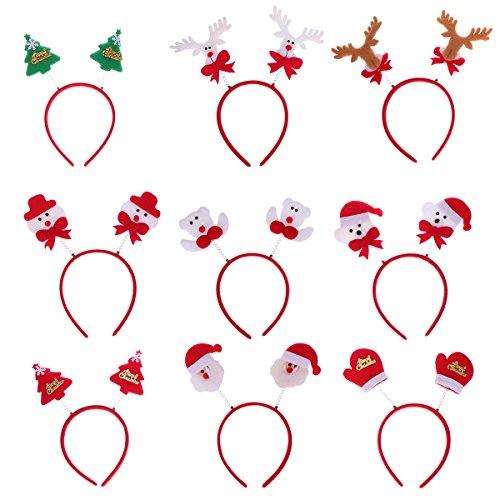 Weihnachtsbaum Kostüm Muster - Frcolor 9 stücke Weihnachten Stirnband weihnachtsmann Weihnachtsbaum Rentier geweih bären Haarband Weihnachten kostüm Cosplay liefert(Zufälliges Muster)