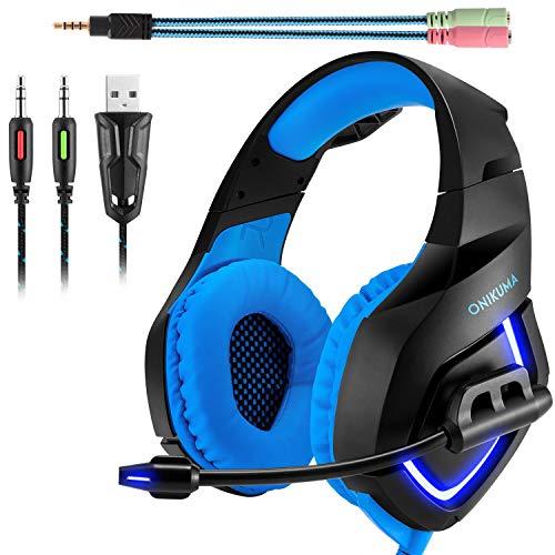 ONIKUMA Auriculares Gaming Stereo K1. Auriculares de Diadema con microfono para Xbox 360/Xbox One s / PS3 / PS4 / PC/Teléfonos Móviles. con Iluminación LED(Azul+Negro)