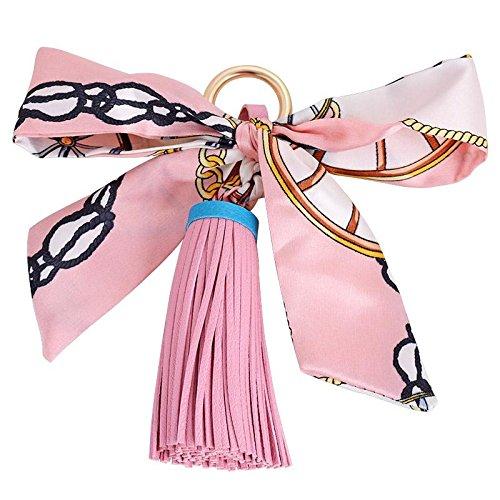MZP Auto-Schlüsselring Korea Schals Lederquasten Frau kreative Schlüsselanhänger Anhänger Telefon Shell-Zubehör Tasche Strap , pink fringed ribbon 3498